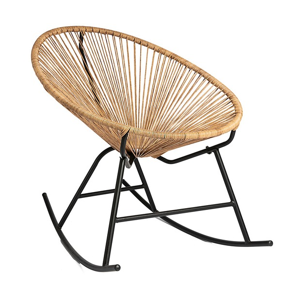 OUTR - ROCKING CHAIR STEEL/WICKER NATURAL